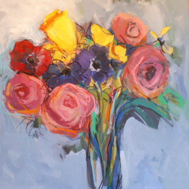 Flower Painting, acrylic, figurative, artwork by Nadine Nacinovic