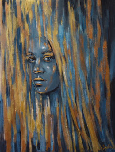 """Painting titled """"INSIGHT OUT-girl wi…"""" by Nadezhda Zueva, Original Art, Acrylic Mounted on Stretcher frame"""