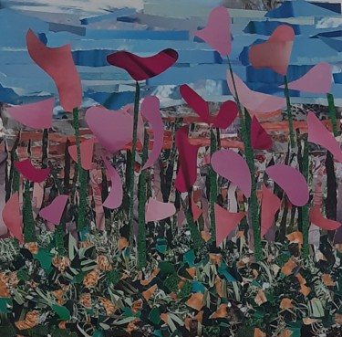 Flower Collages, collages, expressionism, artwork by Nadia Larosa