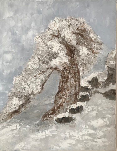 """Painting titled """"Lonely tree covered…"""" by Nadia Voro, Original Art, Oil Mounted on Stretcher frame"""