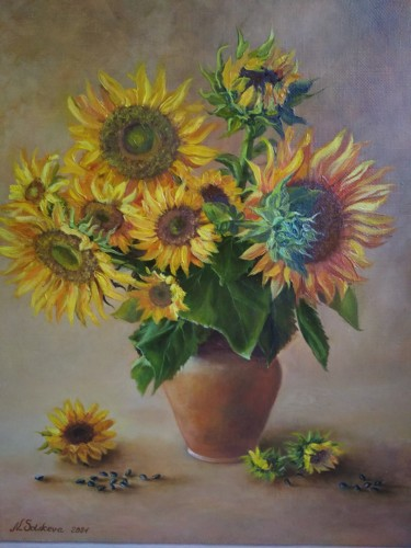 """Painting titled """"""""Sunflower's"""""""" by Надя Солнцева, Original Art, Oil"""