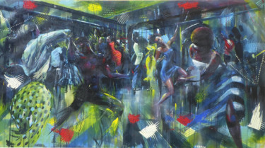 """Painting titled """"The Dance Night"""" by Mbongeni Mhlongo, Original Art, Oil"""