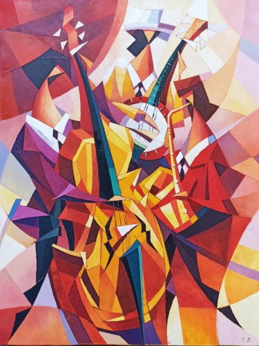 """Painting titled """"Jazz trio (60x80cm,…"""" by Narek, Original Art, Oil Mounted on Stretcher frame"""
