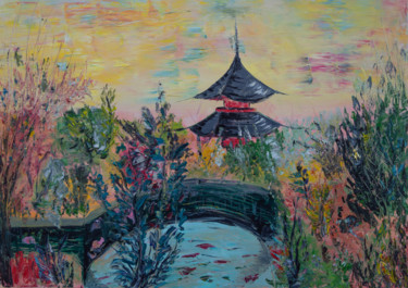 """Painting titled """"Japanese landscape"""" by Anastacia Gaikova, Original Art, Oil Mounted on Stretcher frame"""
