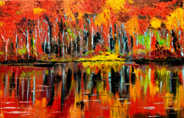 """Painting titled """"Autumn"""" by Anastacia Gaikova, Original Art, Oil Mounted on Stretcher frame"""