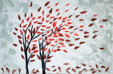 """Painting titled """"""""Red Leaf fall"""""""" by Anastacia Gaikova, Original Art, Oil"""