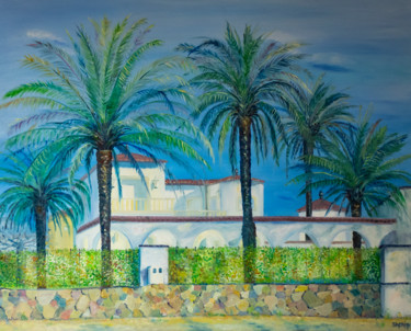 """Painting titled """"House with palm tre…"""" by Natalia Shchipakina, Original Art, Oil Mounted on Stretcher frame"""