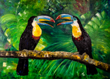 """Painting titled """"Toucans"""" by Natalia Shchipakina, Original Art, Oil Mounted on Stretcher frame"""