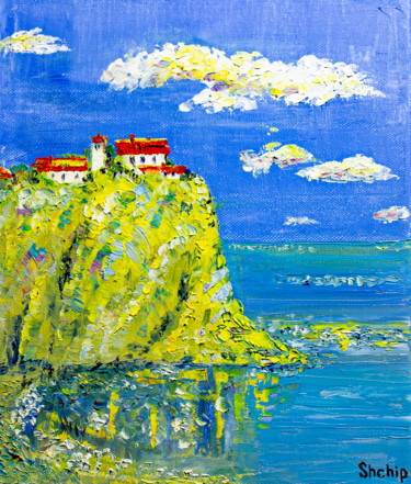 """Painting titled """"House on the cliff"""" by Natalia Shchipakina, Original Art, Oil Mounted on Stretcher frame"""
