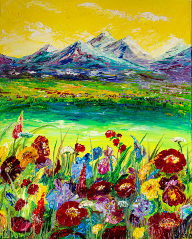 """Painting titled """"Alps. Meadow flowers"""" by Natalia Shchipakina, Original Art, Oil Mounted on Stretcher frame"""