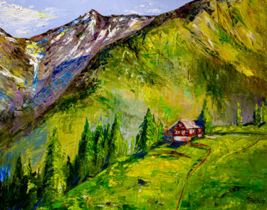 """Painting titled """"Alps. Green meadows"""" by Natalia Shchipakina, Original Art, Oil Mounted on Stretcher frame"""