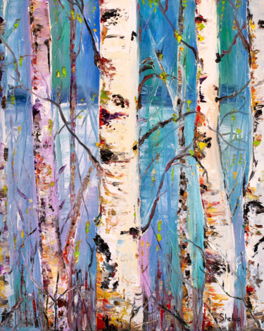 """Painting titled """"Spring In The Birch…"""" by Natalia Shchipakina, Original Art, Oil"""