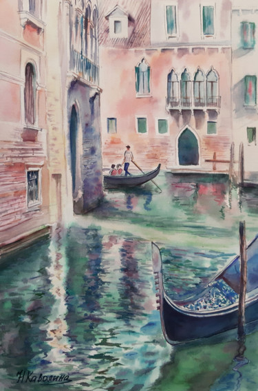 """Painting titled """"A190. Venice. Canal…"""" by Наталья Каволина, Original Art, Watercolor"""