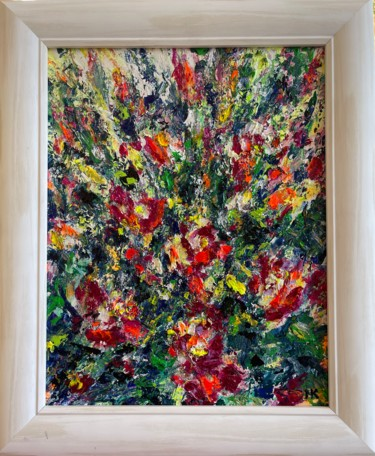 """Painting titled """"Floral Abstract in…"""" by Natalia Kutova, Original Art, Acrylic"""