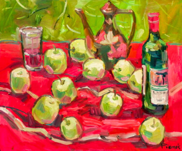 """Painting titled """"Red And Green"""" by Natalia Pismak, Original Art, Oil Mounted on Stretcher frame"""