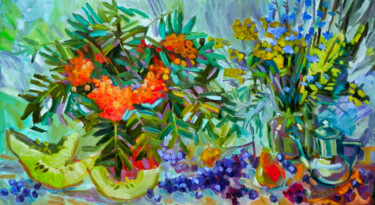 """Painting titled """"Still Life With Row…"""" by Natalia Pismak, Original Art, Oil Mounted on Stretcher frame"""