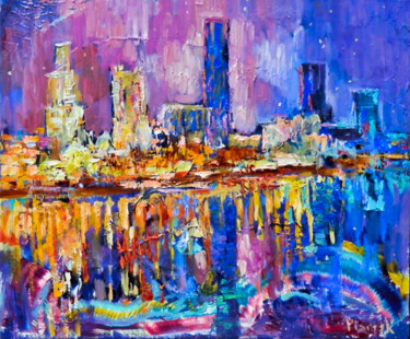 """Painting titled """"City By The River"""" by Natalia Pismak, Original Art, Oil"""