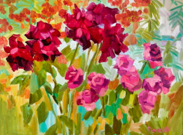 """Painting titled """"Flowers"""" by Natalia Pismak, Original Art, Oil Mounted on Stretcher frame"""