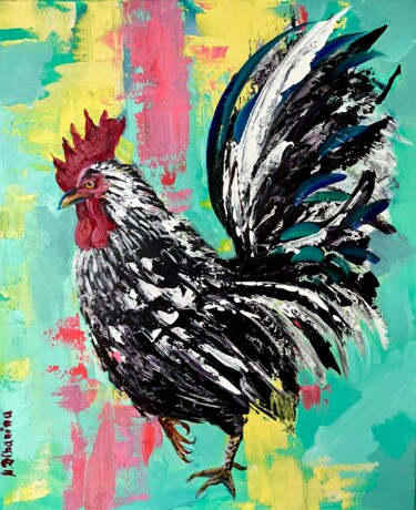 """Painting titled """"Rooster"""" by Natalja Dibanina, Original Art, Acrylic Mounted on Stretcher frame"""