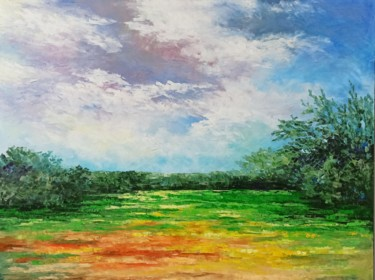 Landscape Painting, oil, expressionism, artwork by Natalia Cherepovich