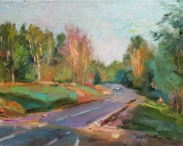 """Painting titled """"The highway in Kare…"""" by Natalya Timchenko, Original Art, Oil Mounted on Stretcher frame"""