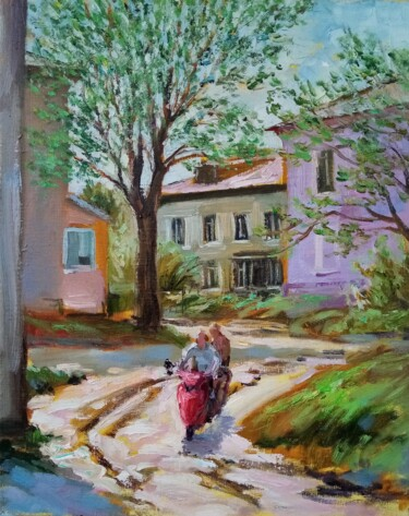 """Painting titled """"Red bike"""" by Natalya Timchenko, Original Art, Oil Mounted on Stretcher frame"""