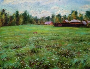 """Painting titled """"The Green Meadow"""" by Natalya Timchenko, Original Art, Oil Mounted on Stretcher frame"""