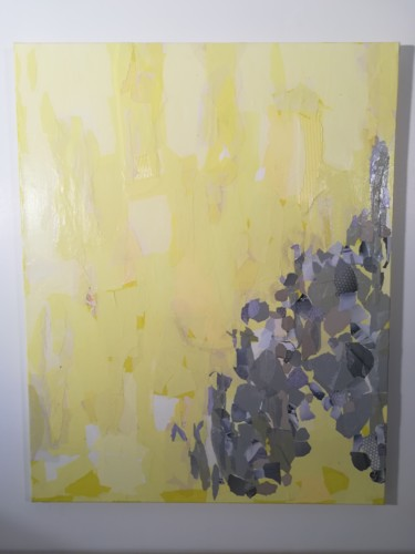 """Collages titled """"Collage Jaune citro…"""" by Nathalie Le Hesran, Original Art, Paper cutting"""