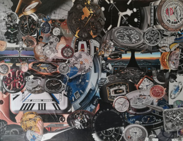 """Collages titled """"Collage Le Temps"""" by Nathalie Le Hesran, Original Art, Paper"""