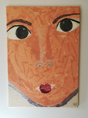 """Collages titled """"Collage jeune fille…"""" by Nathalie Le Hesran, Original Art, Paper"""