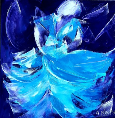 """Painting titled """"Dame bleue"""" by Annie Nectoux, Original Art, Oil"""