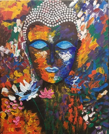 """Painting titled """"'The Serenity' Abst…"""" by Neha Dubey, Original Art, Acrylic"""