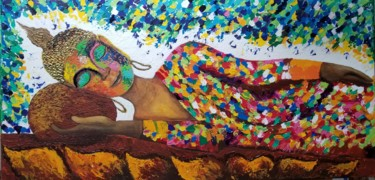 """Painting titled """"""""The Serenity 2"""" sl…"""" by Neha Dubey, Original Art, Acrylic Mounted on Stretcher frame"""