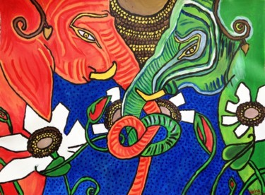 """Painting titled """"colourful elephants"""" by Neha Shah, Original Art,"""