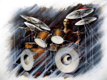 """Painting titled """"Tired drummer"""" by Neint Visiroff, Original Art, Oil"""