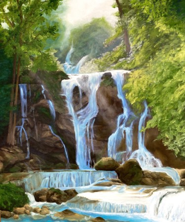 """Painting titled """"Fairy waterfall"""" by Nelly Satler, Original Art, Oil"""