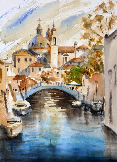 """Painting titled """"Venice Canal in red…"""" by Nenad Kojić Watercolorist, Original Art, Watercolor"""
