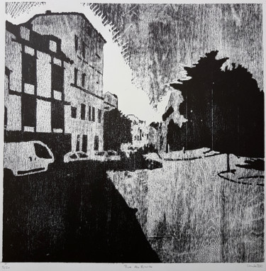 Architecture Printmaking, xylography, expressionism, artwork by Nicolas Goulette