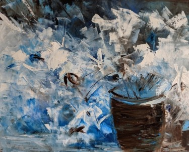 """Painting titled """"Blue floral abstrac…"""" by Nicole Caron, Original Art, Oil"""