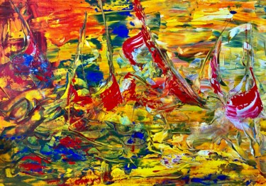 """Painting titled """"Sailing Boats"""" by Nicole Cecil B, Original Art, Acrylic"""