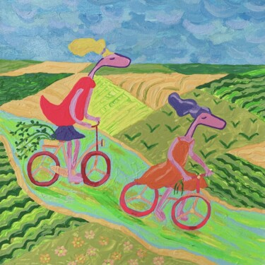 """Painting titled """"Bicycle Pinko's"""" by Nida Acun, Original Art, Acrylic"""