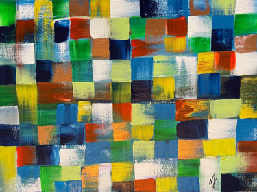"""Painting titled """"Squares"""" by Nídia Ferreira Borges, Original Art, Acrylic"""
