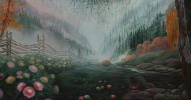 Mountainscape Painting, oil, impressionism, artwork by Sergey Lesnikov