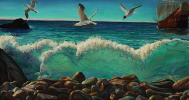 Seascape Painting, oil, classicism, artwork by Sergey Lesnikov