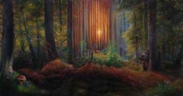 Forest Painting, oil, classicism, artwork by Sergey Lesnikov