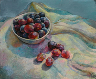 """Painting titled """"Sunny plums"""" by Sergey Lesnikov, Original Art, Oil"""