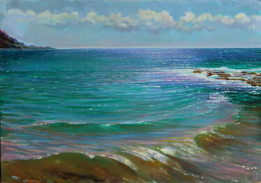 """Painting titled """"Turquoise sea"""" by Sergey Lesnikov, Original Art, Oil"""