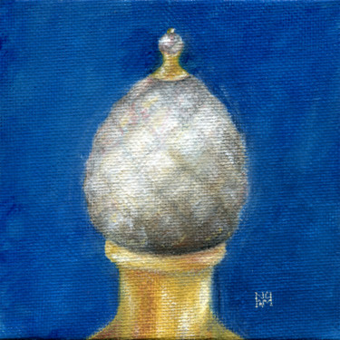 """Painting titled """"Pearl Carving on bl…"""" by Ekaterina Nikidis, Original Art, Acrylic Mounted on Cardboard"""