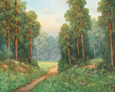 """Painting titled """"Forest road"""" by Nikolay Lyamin, Original Art, Oil"""
