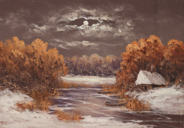 """Painting titled """"Night over the river"""" by Nikolay Lyamin, Original Art, Oil"""
